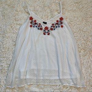 Torrid plus size floral embroidered v neck tank